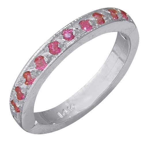 14K White Gold Pink Sapphire Toe Ring