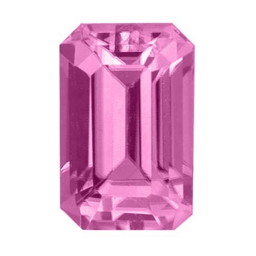 Emerald Cut Synthetic Rose Zircon