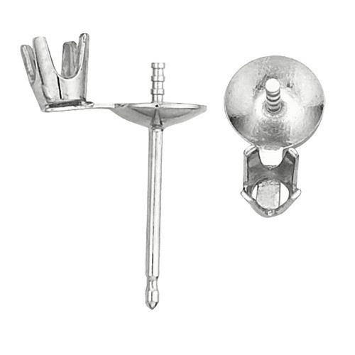 14K White Pearl Earring W/ Diamond Accent