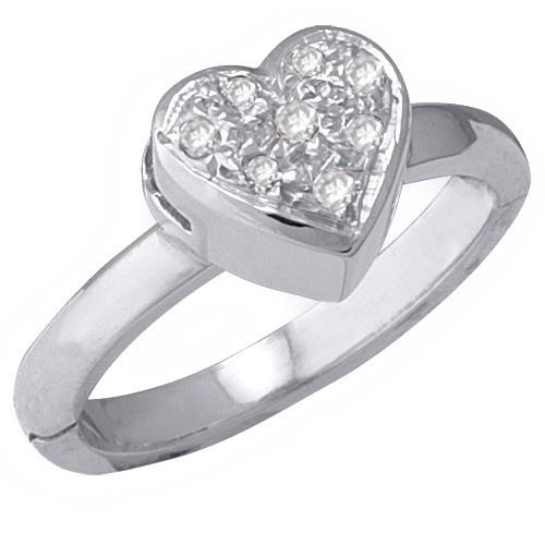 14K White Gold Heart Shape Toe Ring W/ Diamond