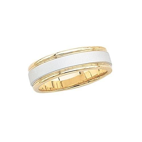 14K Gold 2-Tone Wedding Band W/ Brushed Finish 7 Mm