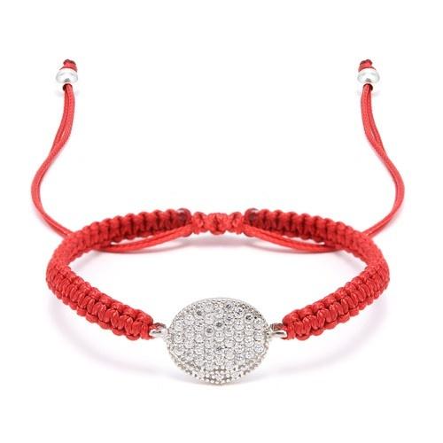 Silver And Cz Oval Macrame Bracelet