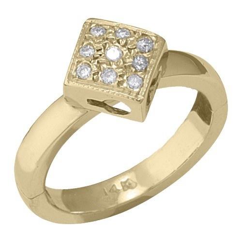 14K Yellow Gold Diamond Shape W/ Diamond Toe Ring