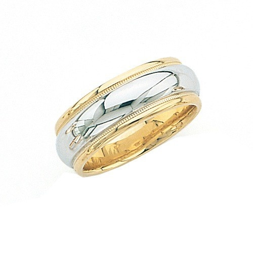14K Gold 2-Tone Wedding Band W/ Milgrain 8 Mm