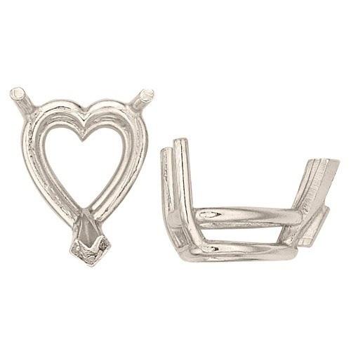 14K White Heart Shape 3-Prong Double Wire Setting