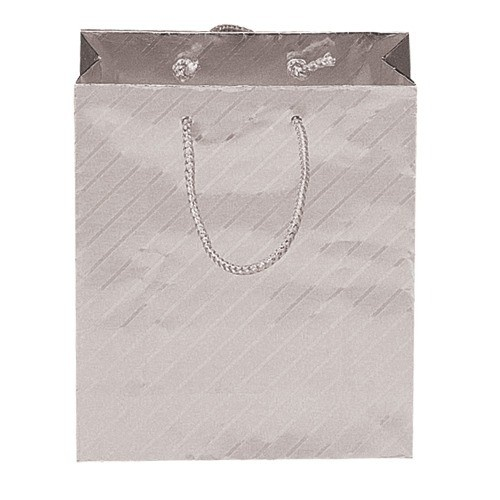 """Silver-On-Silver Striped Tote-Style Gift Bags, 3"""" L X 3.5"""" w"""