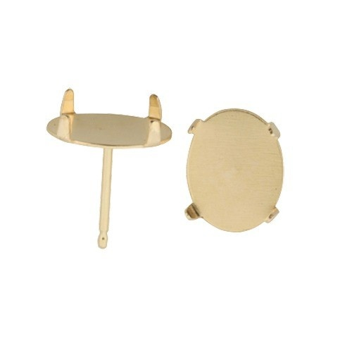14K Yellow Flat Solid Back Oval Earring