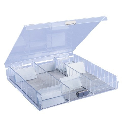 3-Section Acrylic Parcel Boxes W/Locking Lids And Adjustable Dividers
