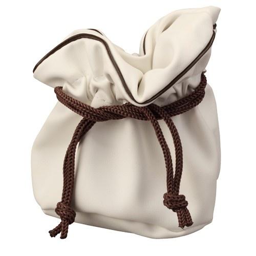 "Genuine Leather Cinch Pouches In Ivory W/Brown Drawstring (Pk/10), 3.75"" L X 3.75"" w"