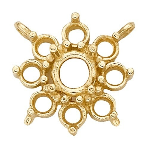 14K Yellow Round Top Cluster