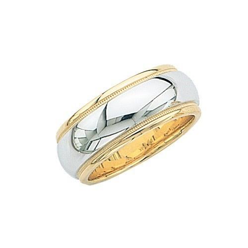 14K Gold 2-Tone Wedding Band W/ Milgrain 8.5 Mm
