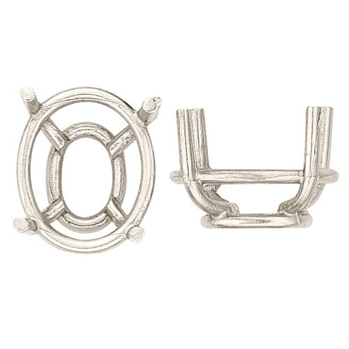 14K White Double Wire Oval Tappered Basket Setting