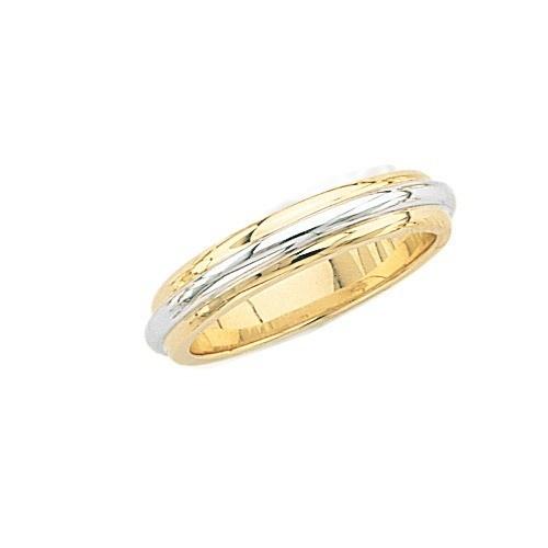 14K Gold 2-Tone Wedding Band 5 Mm