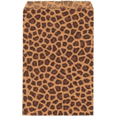 Paper Gift Bags In Brown Leopard Print