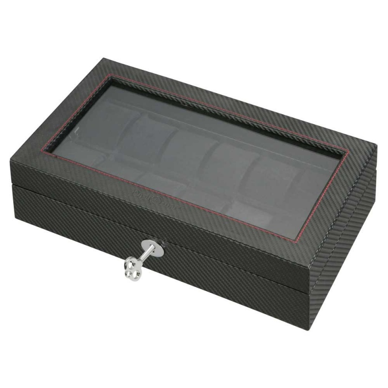 """Diplomat """"luxor"""" 12-watch Glass-top Cases In Carbon Fiber"""