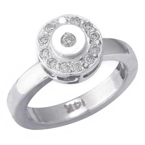 14K White Gold Circle Shape W/ Diamond Toe Ring