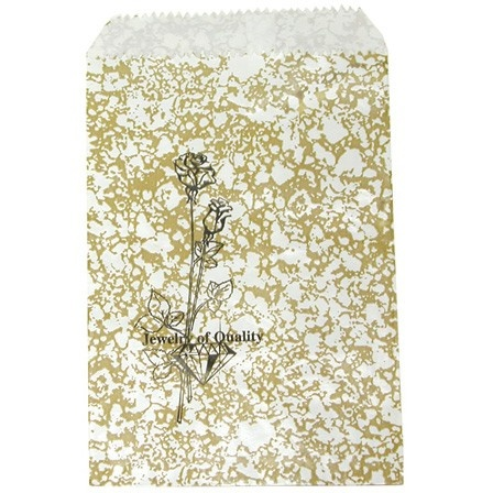 Gold Travertine-Print Paper Gift Bags W/Stamp