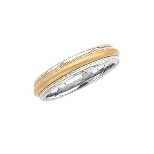 14K 2-Tone Gold Wedding Brushed Finish Center Milgrain Edge 5 Mm