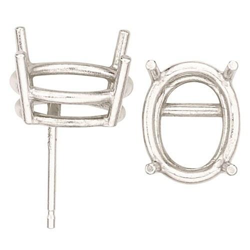 14K White Oval Double Wire Earring