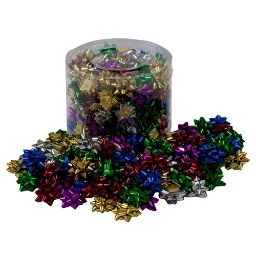 """Metallic Self-adhesive Gift Bows In Assorted Colors (pk/100), 1"""" L X 1"""" W"""