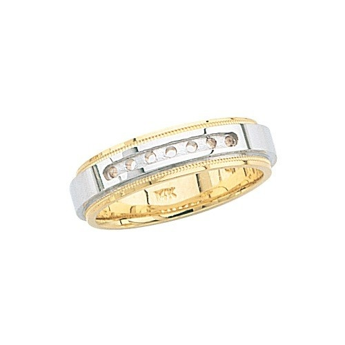 14K Gold 2-Tone 7Mm Wedding Band Mounting For 7 Stones
