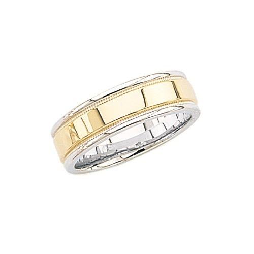 14K 2-Tone Gold Wedding Band W/ Milgrain 7 Mm