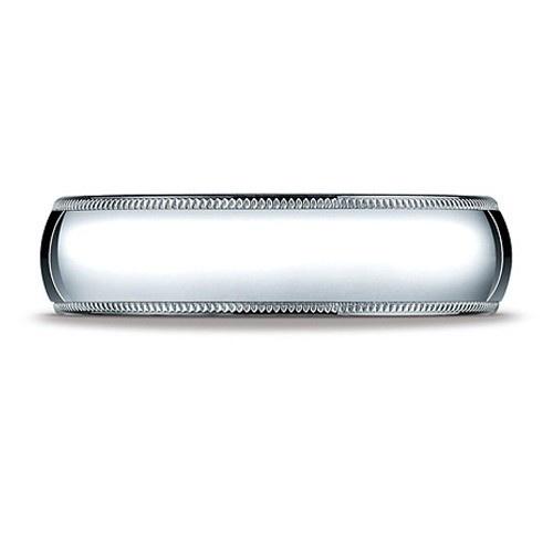 18K White Milgrain Comfort Fit Band 6.0Mm