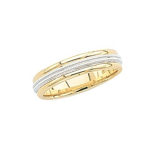 14K 2-Tone Gold Wedding Band W/ Double Milgrain 5 Mm