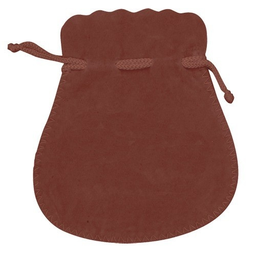 Microsuede Pouches W/Exposed Drawstring In Brown