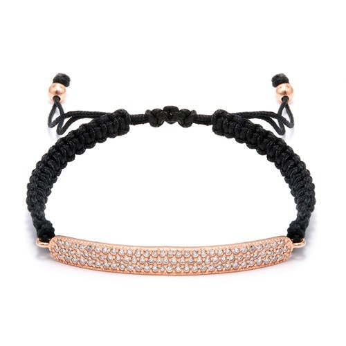 Rose Gold Plated Silver And 3-Row Cz Bar Macrame Bracelet