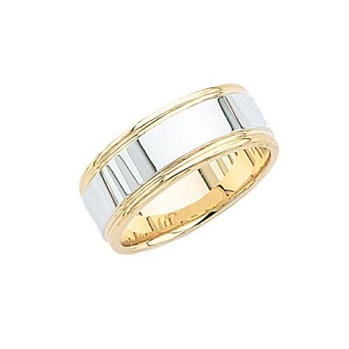 14K 2-Tone Gold Wedding Band W/ Milgrain 8 Mm