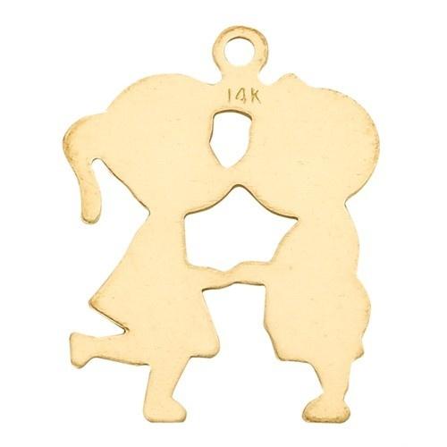 14K Yellow Boy Girl Silhouette Charm