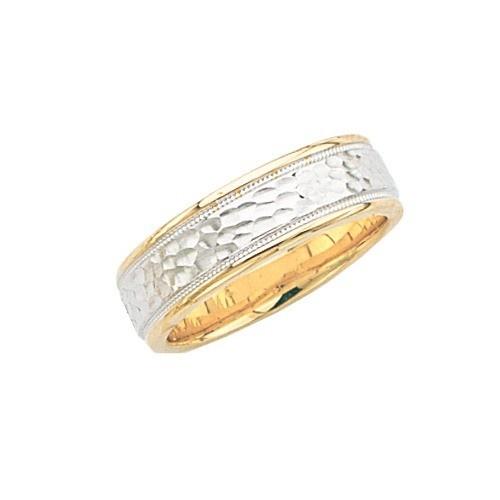 14K 2-Tone Gold Wedding Band Hammer Finish Center Milgrain Edge 7 Mm