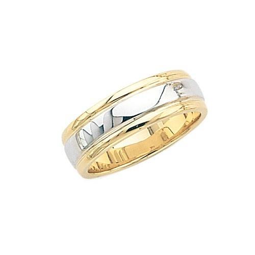 14K Gold 2-Tone Wedding Band 7 Mm