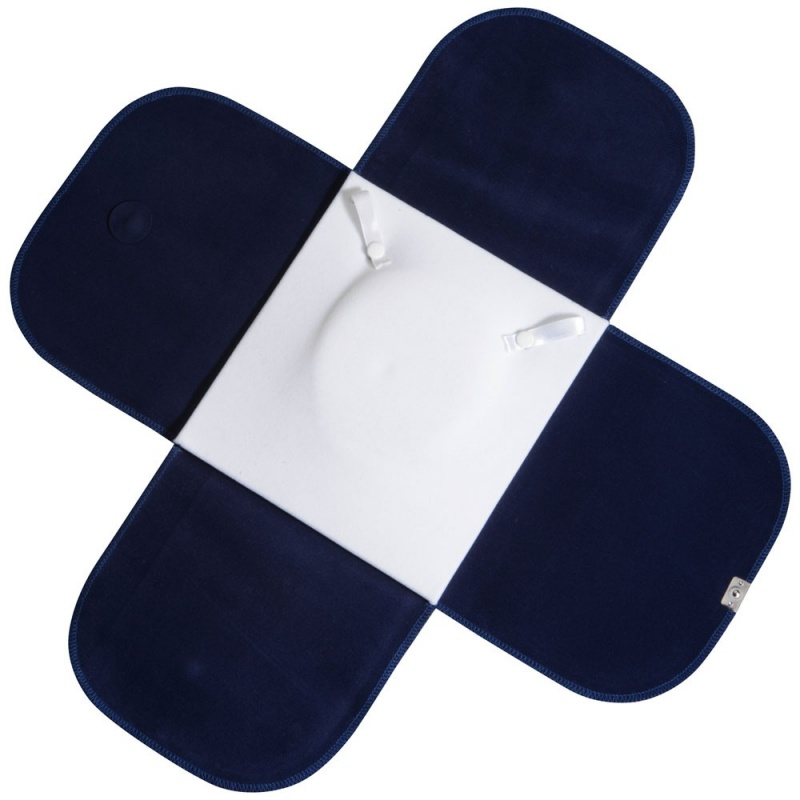 Travel Folders For Necklaces In Blue Velvet W/White Interiors & Silver Trim, 7 X 7.5 In