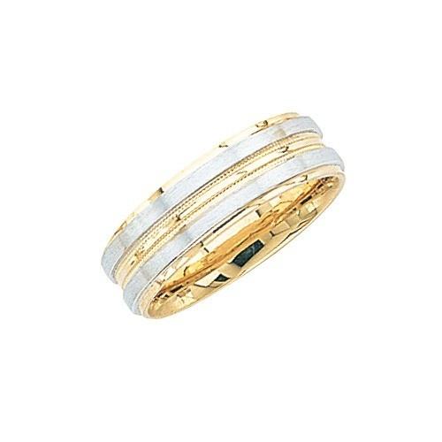 14K 2-Tone Gold Wedding Band W/ Light Center Milgrain 7 Mm