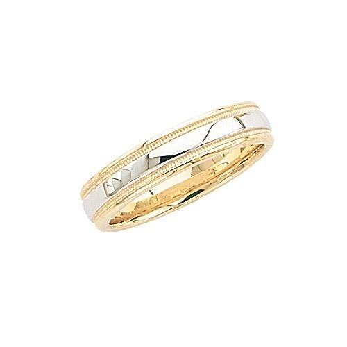 14K 2-Tone Gold Wedding Band W/ Light Milgrain 5 Mm