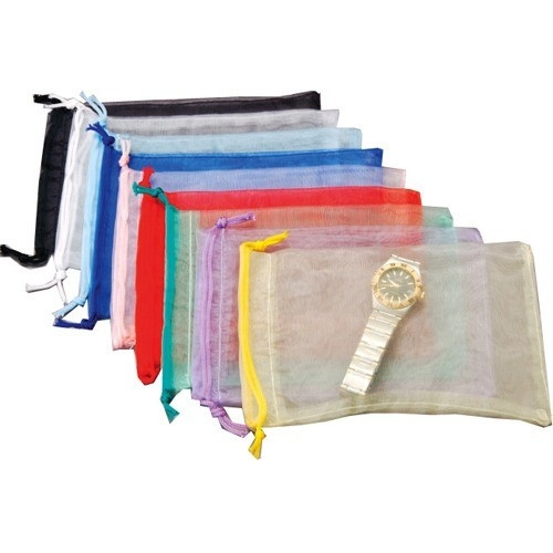 """Organza Drawstring Pouches In 9 Assorted Colors, 6"""" L X 8"""" w"""