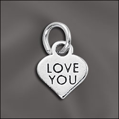 Sterling Silver Message Charm - Love You