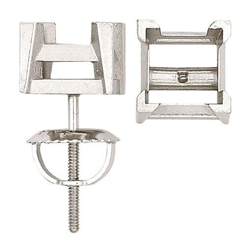 14K White Square Screw-Back Earring W/ V-Prongs