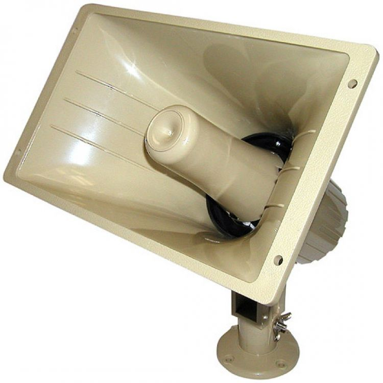 Paging Horn-32w--25/70v--8 Ohm. Tan Abs Plastic Casing Freq. Range 300-14000 Hz. (16 Watts In 25 Volt Mode).