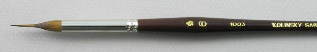 Trinity Brush Kolinsky Sable Short Handle Reservoir Liner Brush # 6 (Made in Russia)