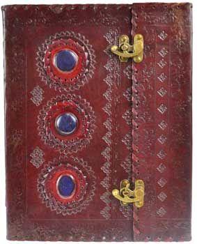 """10"""" X 13"""" Stone Leather Blank Book W/ Latch"""