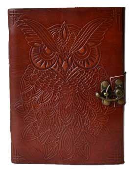 """5"""" X 7"""" Owl Leather Blank Book W/ Latch"""