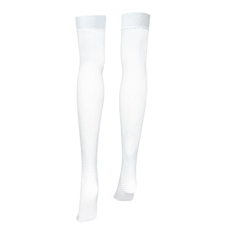 White Fishnet Thigh High Costume Tights
