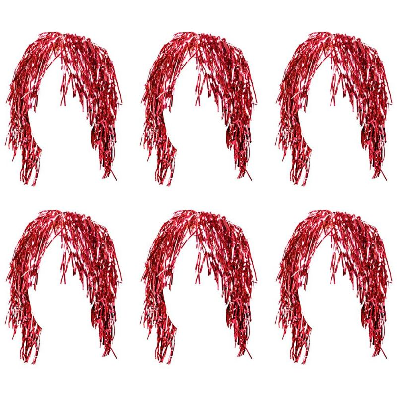 Tinsel Wigs 6-pack, Red