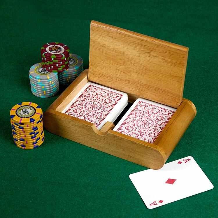 2 Deck (Poker And Bridge Size) Wooden Card Box