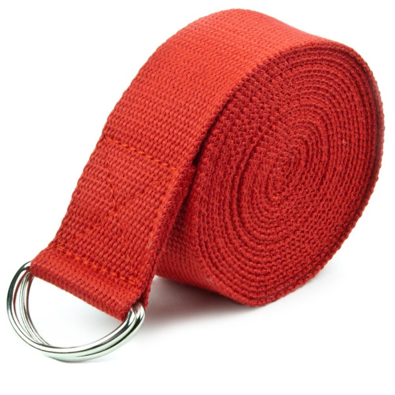 Red 8' Cotton Yoga Strap With Metal D-Ring