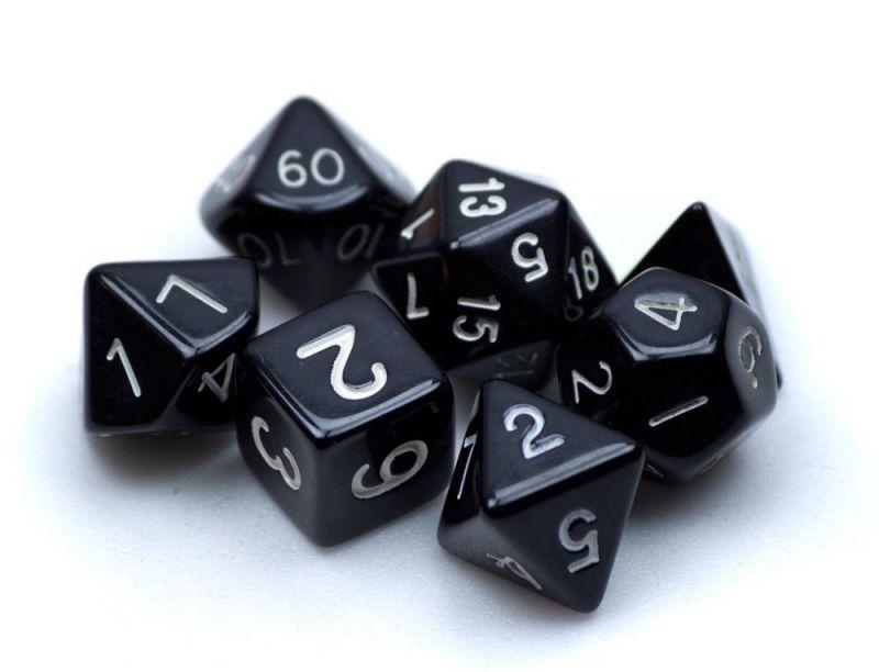 7 Die Polyhedral Dice Set In Velvet Pouch- Opaque Black
