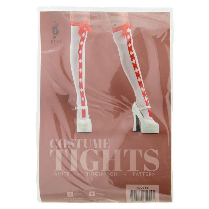 White Red Stripe Nurse Thigh High Costume Tights